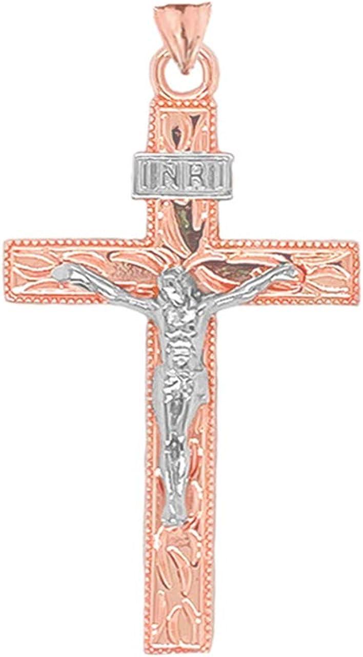Certified 10k Two-Tone Gold Small Jesus Christ INRI Crucifix Cross Pendant