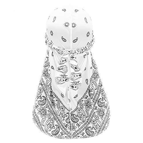 Treer Chapeau Durag en Soie avec Longue Queue, Unisexe Hip-Hop Imprimé Paisley Mode Hommes Femmes Pirate Casquette Turban Bonnet Multicolore Headwraps (Blanc,100cm)