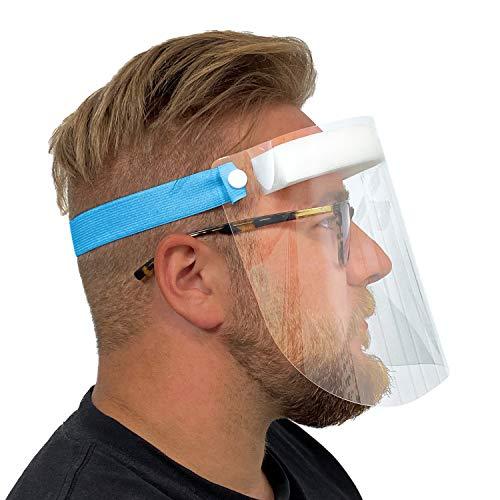 Urhome Hard 1x Visier Gesichtsschutz aus Kunststoff | Face Shield in Blau | Universales Gesichtsvisier für Erwachsene | Visier zum Schutz vor Flüssigkeiten | Made in Germany