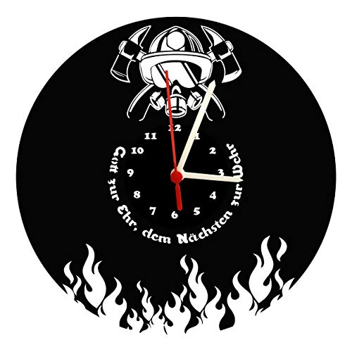 Wanduhr, Feuerwehr Design, schwarzes Ziffernblatt, hochwertige Acrylglas Uhr mit lautlosem Quarzwerk, 3mm Stärke