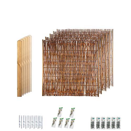 Sichtschutz Terrasse aus Weiden-geflecht mit seitlichem Rahmen im Komplett-Set // 5 Zaunfelder (180 x 180 cm)//ca. 9,5 lfd. Meter//+ 6 braunen Holz-Pfosten (9 x 9 x 190 cm) Rundkopf + Montagematerial