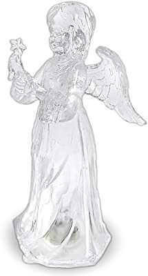 LED Lighted Angel Figurine - Clear Acrylic Colour Changing Angel Holding a Star Wand Statue Decoration - 18cm