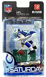 McFarlane Toys NFL Sports Picks Series 24 Action Figure Jeff Saturday (Indianapolis Colts) Blue Jersey Bronze Collector Level Chase