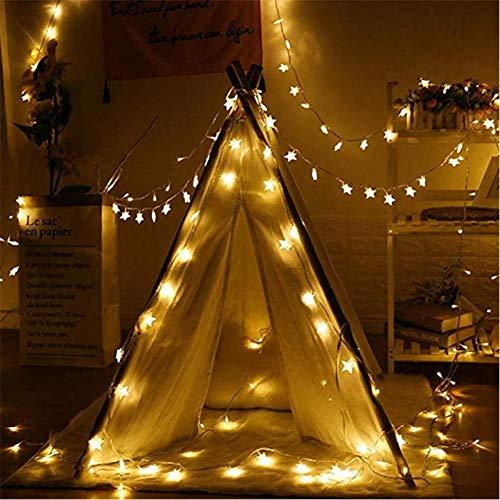 WEDFGX 20/10/40/50 Guirnalda de Luces de Estrellas LED Guirnaldas centelleantes Lámpara de Navidad con batería Fiesta navideña Boda Luces de Hadas Decorativas