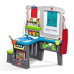 Double-sided kid's art easel features a large dry-erase white board and spacious chalk board 360-degree play allows for imaginative play and all around fun! Molded-in bench and art desk allow little artists to sit down while they create their next ma...