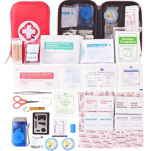 Botiquín de Primeros Auxilios 175 Artículos, Mini Kit de Supervivencia - Bolsa Médica de Emergencia Al Aire Libre para Coche El Hogar Lugar de Trabajo Acampar Senderismo Viaje