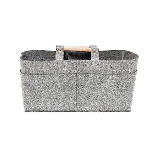 Creations Sac de transport en feutre gris de haute qualité avec base plate et poignées de transport pour une utilisation polyvalente.