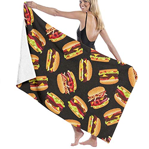 Toallas de baño de hamburguesa de secado rápido suave toalla de ducha de playa 130 x 80 cm