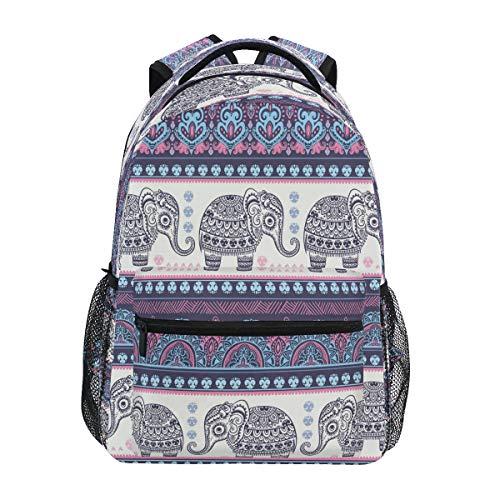 HaJie Backpack Tribal Mandala Flower Elephant Animal Travel Daypack Large Capacity Rucksack Casual School Book Bag Shoulder Straps Computer Laptop Bag for Womens Mens Teenage Girls Boys