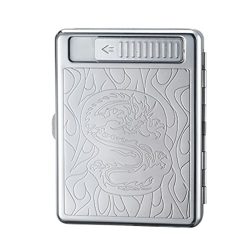 シガレットケース 付きUSB充電式 電子ライター 20本収納可 タバコケース ボックス (竜)