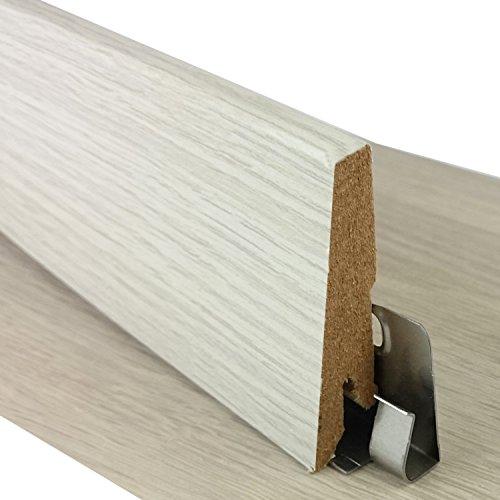 Sockelleiste für TRECOR® Klick Vinylboden - Länge: 240 cm - Höhe: 60 mm - Tiefe: 18 mm - WASSERFEST - (Sockelleiste   1 Stück, Eiche Weiß)