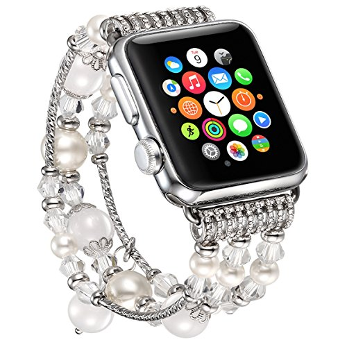 fastgo Bracelet Compatible for Apple Watch Band 38mm 40mm, Classy Elastic Stretchy Cuff Jewelry IWatch Bands Strap Wristbands Unique Fancy Style for Women Girls(White-38mm 40mm