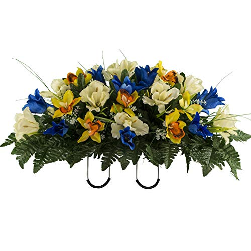 Sympathy Silks Artificial Cemetery Flowers – Realistic Vibrant Tulips, Outdoor Grave Decorations - Non-Bleed Colors, and Easy Fit - Blue Yellow Tulip Saddle