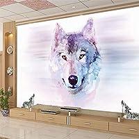 3Dステレオ大きな壁画オオカミトーテム動物の壁紙寝室のリビングルームのテレビの背景壁装不織布壁紙-300x210cm