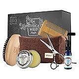 BFWood Kit para el cuidado de la barba para Recortar, Suavizar, Moldear y Acondicionar, Set de Regalo para el Día del Padre