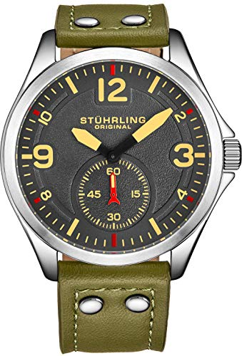 Stührling Original Men's Stainless Steel Sport Aviator Watch, Casual Leather Strap with White Contrast Stitching, 684 Series (Green)