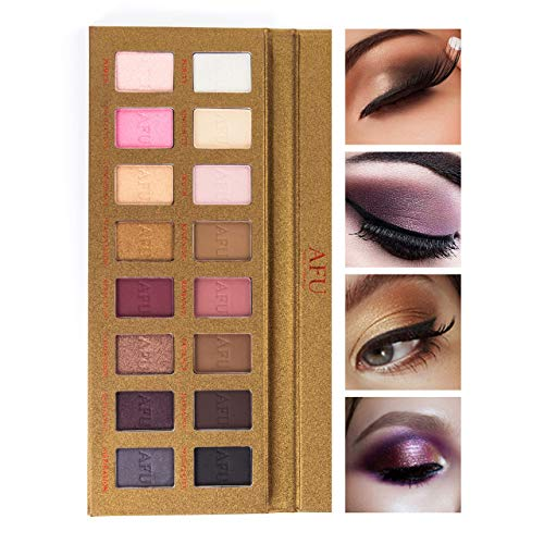 AFU High Pigmented Eyeshadow Palette Matte + Shimmer 16 Colors Makeup Natural Bronze Neutral Smokey Blendable Waterproof Eye Shadows Cosmetic - P-12