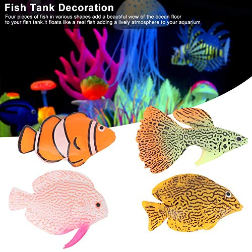 Hffheer Aquarium Artificial Fish, 4Pcs/Set Glowing Effect Lifelike Silicone Fake Fish Moving Floating Fishes Fish Tank Decor Floating Ornament