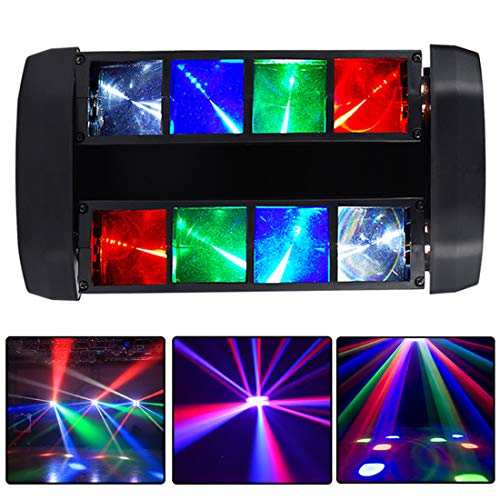 Moving Head Lights,MARYGEL 8 x 3W RGBW LED Stage Light Moving Beams Rotating, DMX-512 Portable DJ Lights with 4 Color LED Lighting for Parties, Live, Club Bar, Club Wedding Ceremony