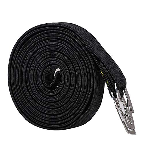 Runaup Long Bungee Cords with Carbon Steel Safety Hooks, Highly Stretchy Clips Bike Motorbike Luggage Cord Rope,Great for Hand Carts, Cargo, Camping (4 Meter Black)