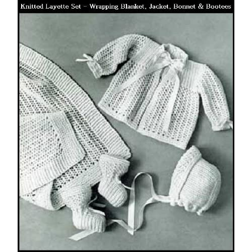 040278ced KNITTED INFANT S LAYETTE SET - 4 Vintage Baby Knitting Patterns  Wrapping  Blanket