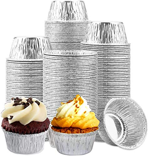 Aluminum Ramekin | Disposable Ramekin | 4 Oz Aluminum Cupcake, Disposable Ramekin with Aluminum Foil Baking Standard Size Perfect for Souffle & Creme Brulee Baking Cups - 300 Pcs Silver Color