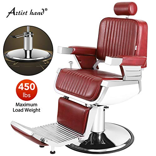 Artist Hand Heavy Duty Hydraulic Recline Barber Chair Salon Chair Barber Chairs for Hair Stylist Tattoo Chair Barber Salon Equipment (Red)