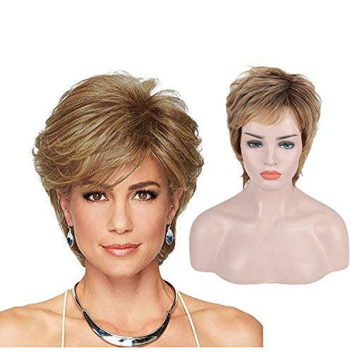 Bybrana Hair wigs for white women Short Wigs for Middle Age Women short blonde wig Blonde Pixie Cut Wig with Bangs Natural Heat Resistant Wigs for White Women(Black Mixed Blonde)