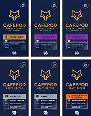 CAFEPOD Craft Coffee Nespresso Compatible Aluminium Pods - UTZ Certified (Variety x 60 Pods)