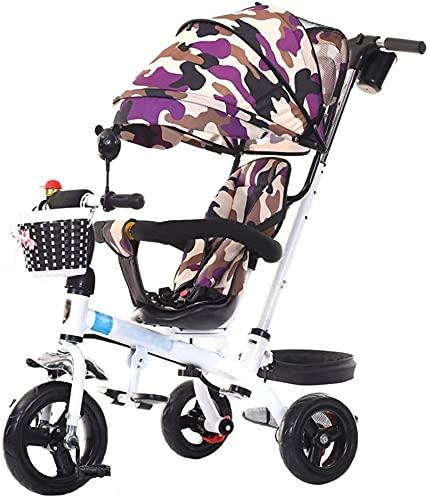 Cochecito único cochecito de cochecito de cochecito de bebé por 1-6 años de edad para niños Bicicleta de triciclo para niños   ARITIDO AJUSTABLE   Asiento giratorio   Embrague   Arnés de seguridad   F