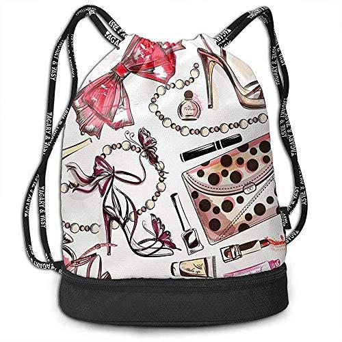Valender Mode mit rosa Hand gezeichneten weiblichen Schuhen Lippenstift-Parfümstrahl Drawstring-Rucksack Unisex