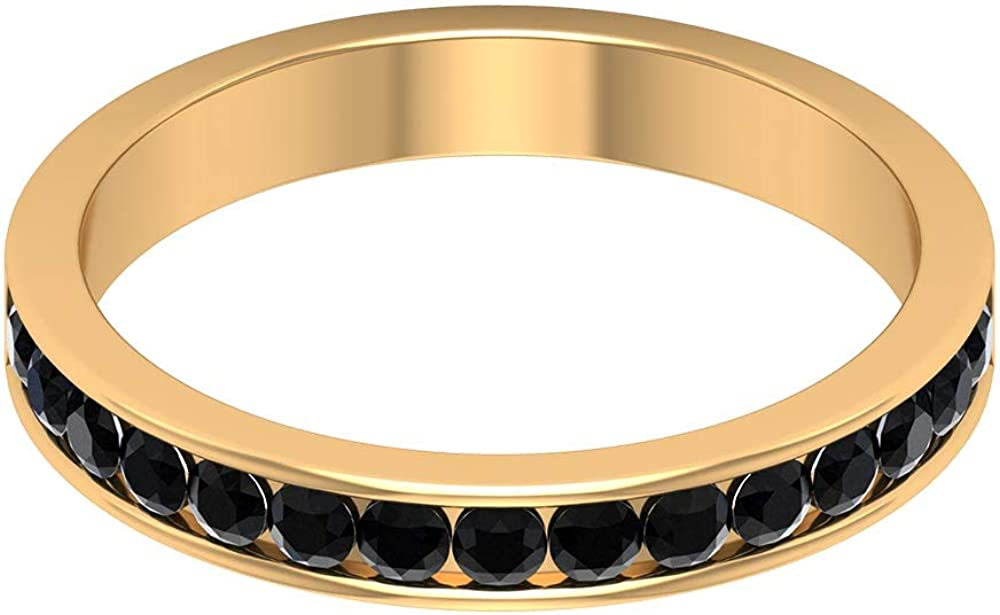 2 MM Lab Created Black Diamond Ring,Channel Setting Eternity Ring, Gold Wedding Band, 14K Gold