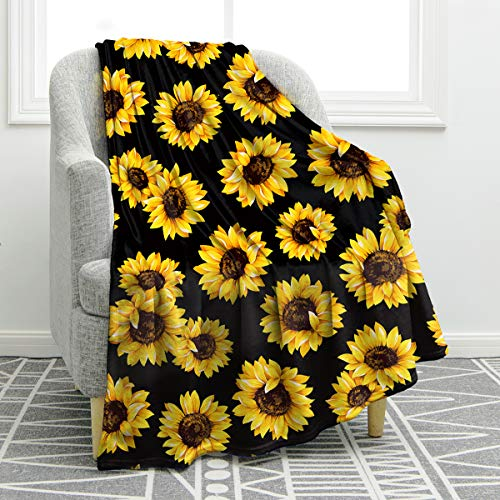 "Jekeno Sunflower Blanket Soft Warm Print Throw Blanket Lightweight for Kids Adults Women Gift 60""x80"""