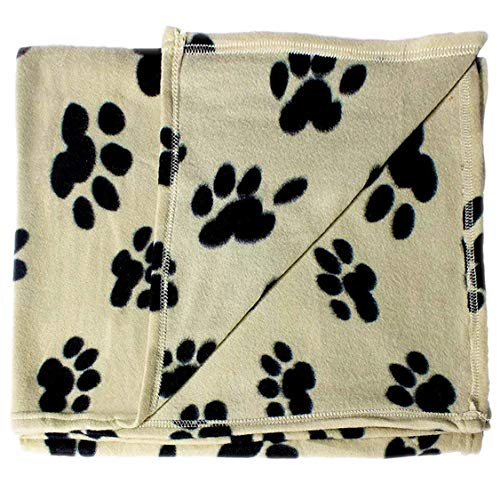 bogo Brands Large Fleece Pet Blanket with Paw Print Pattern Fabric - 60 x 39 Dog and Cat Throw (Tan & Black)