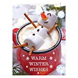 Cocoa Snowman Holiday Card Pack/Set of 25 Winter Wishes Cards/Hot Chocolate Marshmallows Design With Verse Inside/Christmas Cards With Envelopes
