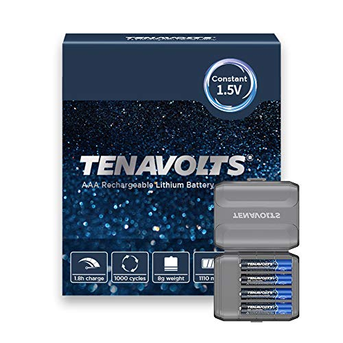 TENAVOLTS Rechargeable Lithium/Li-ion Batteries, AAA Rechargeable Batteries Constant Output at 1.5V,Quick Charge,2775 mWh Electrical core Power- 4Count…