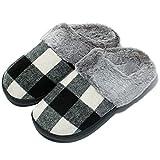 Mujer zapatillas Caucho Suela Zapatillas Casa con Felpa Cálido Antideslizante de Invierno para Interiores y Exteriores,Negro,41/42 EU