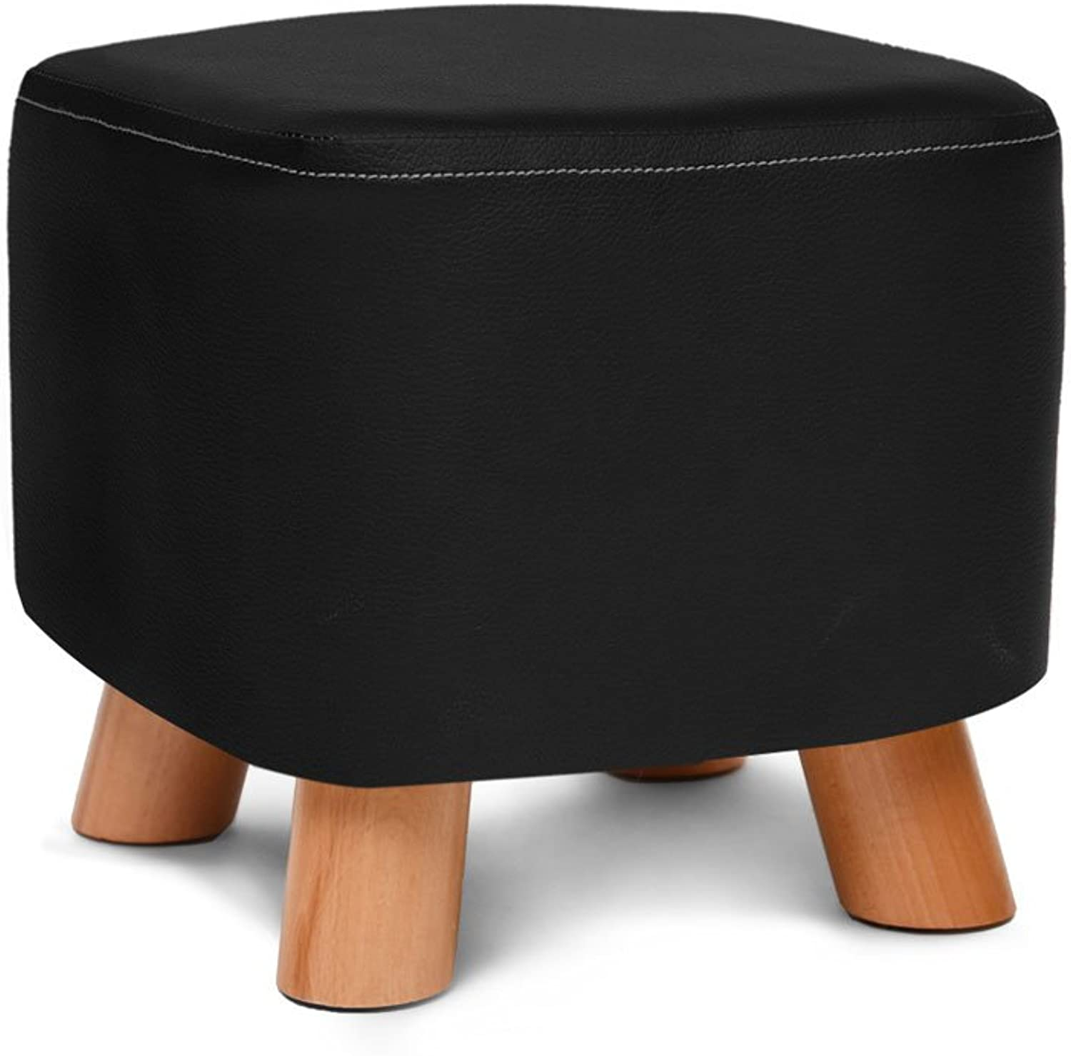 Chair-Home Solid Wood Multifunctional Fabric Storage Stool (color   Black)