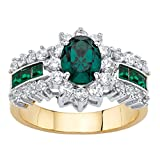 Palm Beach Jewelry 14K Yellow Gold-Plated Oval Cut Simulated Emerald and Cubic Zirconia Halo Ring Size 8