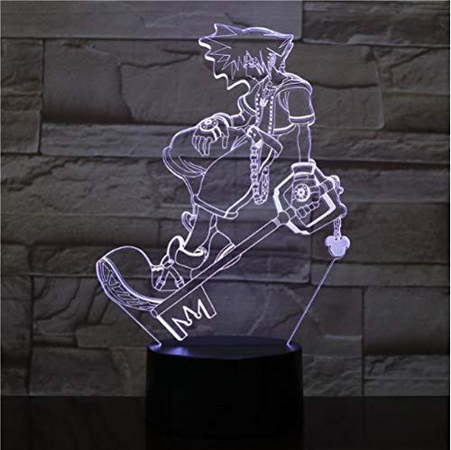 3D Lampes Illusions Optiques Sora Usb Led Veilleuse Multicolore Rgb Lumières Décoratives Garçons Enfants Bébé Cadeaux Jeu Kingdom Hearts Lampe De Table De Chevet