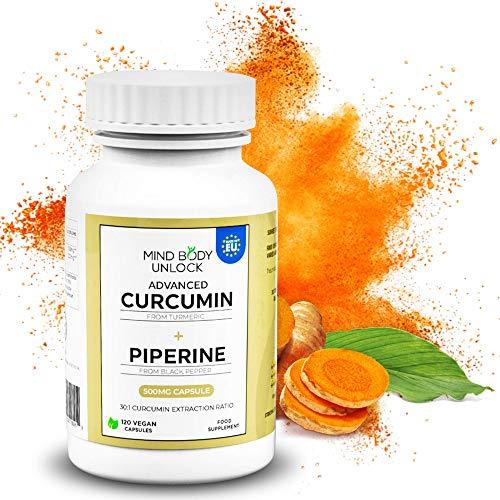 Organic Curcumin 95 + Biopiperine | 120 Capsules | 500mg Capsule | 95%+ Curcumin Purity | Extracted from Turmeric and Black Pepper | Vegetarian and Vegan Capsules