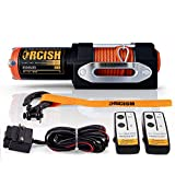ORCISH New 3500lb Load Capacity Electric Winch 12v Steel Cable Line Winch Waterproof IP67 ATV/UTV Winch Kit with Wireless Remote Control Mounting Bracket