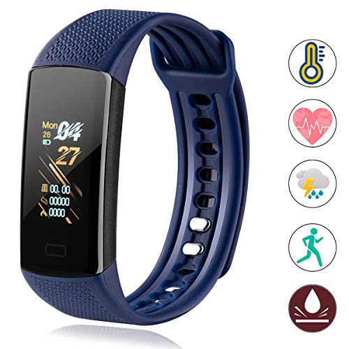 Fitness Tracker with Body Temperature Blood Pressure Oxygen Heart Rate Sleep Monitor Step Counter Call Message for Women Men Kids Boys Girls (Red) Activity Features Fitness Sports Trackers