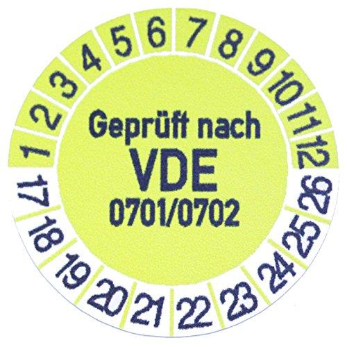 100 x Prüfplaketten / Gelb / Geprüft nach VDE 0701/0702 Prüfung / 30mm /