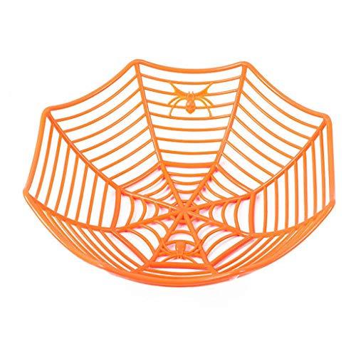 Obstschale Halloween Kunststoff- Dekorativer Obstkorb Vintage Obstkorb Obstschale Skandinavische Deko Korb- Obst Aufbewahrung für Vitamine in Ihrem Alltag Deko Korb 29x12cm (Orange)