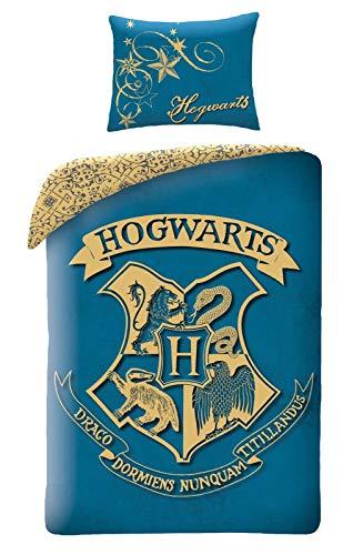 Halantex Harry Potter, Set Copripiumino per Bambini, Cotone, Blu, 140 x 200 cm