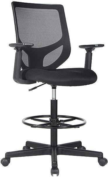 起草椅子,高大办公椅,用于站立办公桌起草网状桌椅,带可调节扶手和脚环