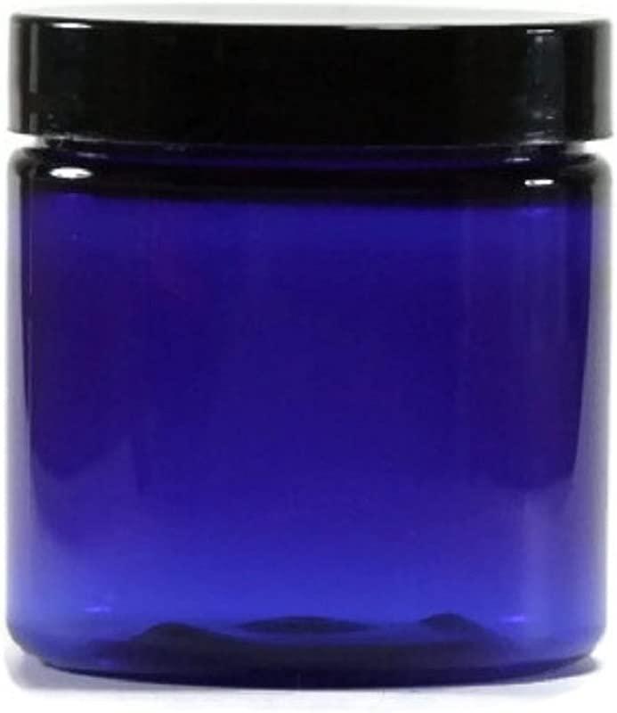 Blue 2 Oz Plastic Jar Black Lid Pack Of 12
