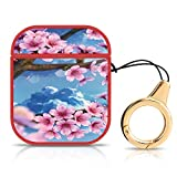AirPods Case Cherry Blossom Drawing Pattern Design Hard PC Headphones Cover with Keychain Wireless Charging Shockproof Cases for Apple AirPods 1&2 Red
