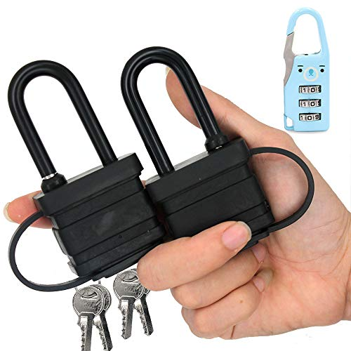 40mm 2-Heavy Duty Waterproof Padlock - Ideal for Home, Garden Shed, Outdoor, Garage, Gate Security (2 Pieces Set, Send a Small Password Lock)